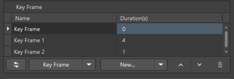 Define the key frame sequence for the video using controls available in the central region  of the PCB 3D Movie Editor panel.