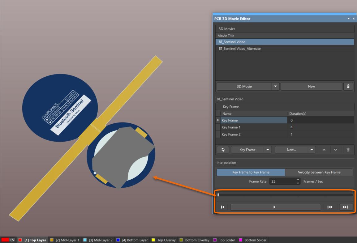 Altium NEXUS позволяет просматривать созданные ролики – просто выберите ролик и нажмите Play.