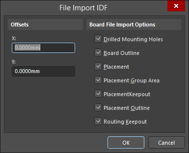 The File Import IDF dialog