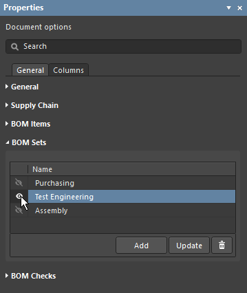 Properties panel, showing the BOM Sets feature