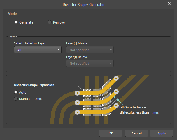 The Dielectric Shapes Generator dialog