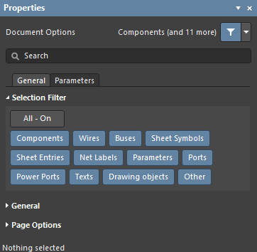 The Schematic and PCB editor Selection Filters, available in the Properties panel when there is nothing selected in the design space.