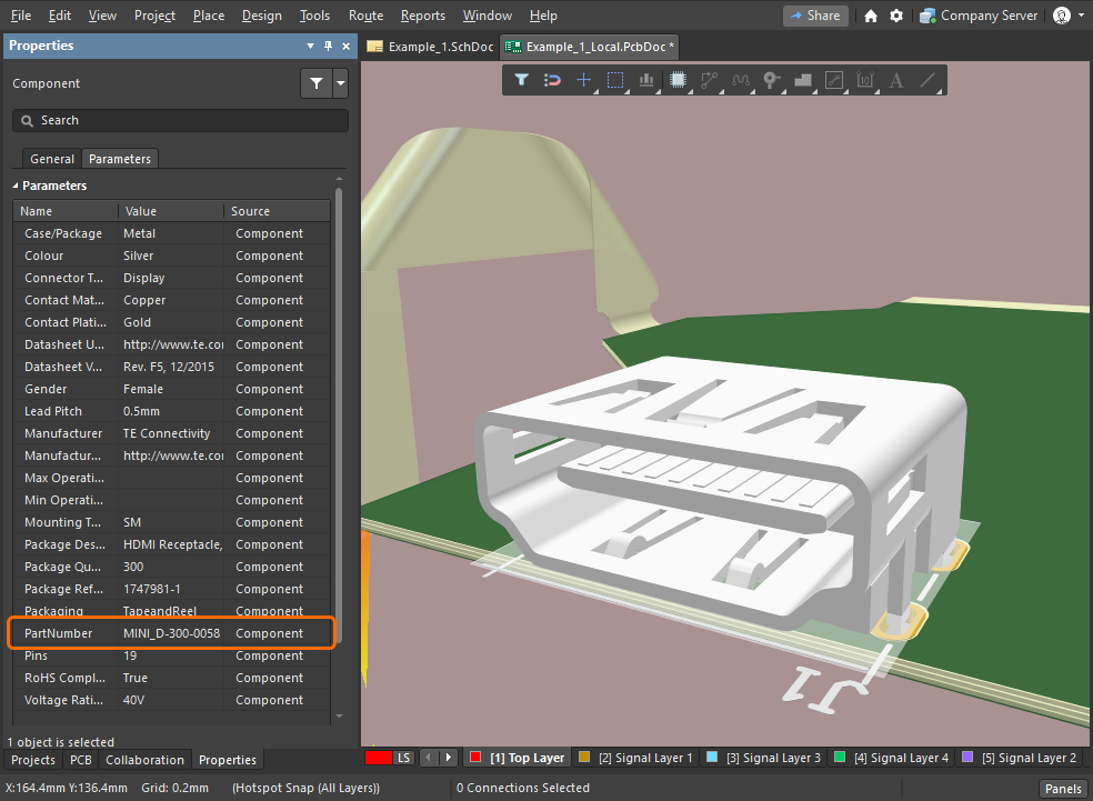 Instead of transferring a model from MCAD, the native component has been placed from the NEXUS Server Workspace.