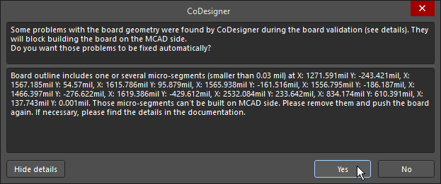 CoDesigner tests the board outline for issues that cannot be supported in MCAD and will resolve them automatically.