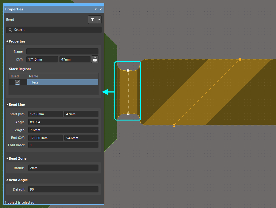 The properties of the selected Bending Line are displayed in the Properties panel.