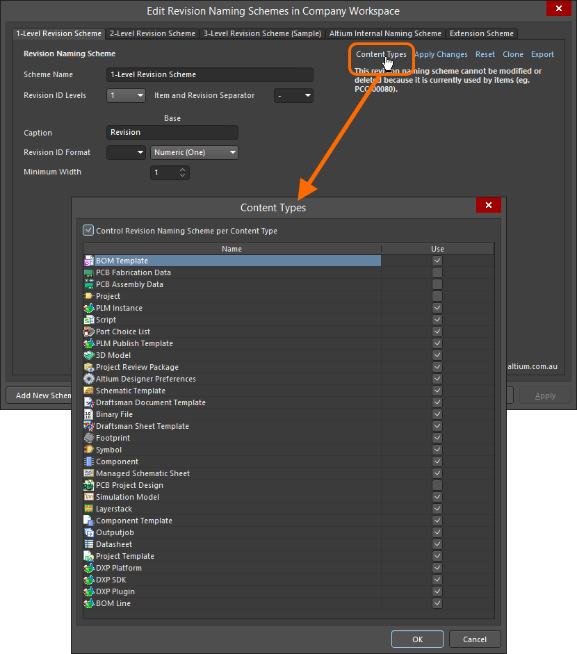 Accessing the Content Types dialog – command central for determining which content types can use the revision naming scheme being configured.