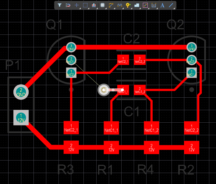 PCB editor, creating routing stubs to define a shortest path between component pads