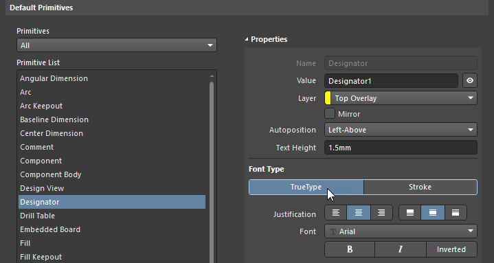 Preferences dialog, configuring the default settings for Designator and Comment