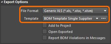 Bill of Materials Report Manager dialog, Export Options