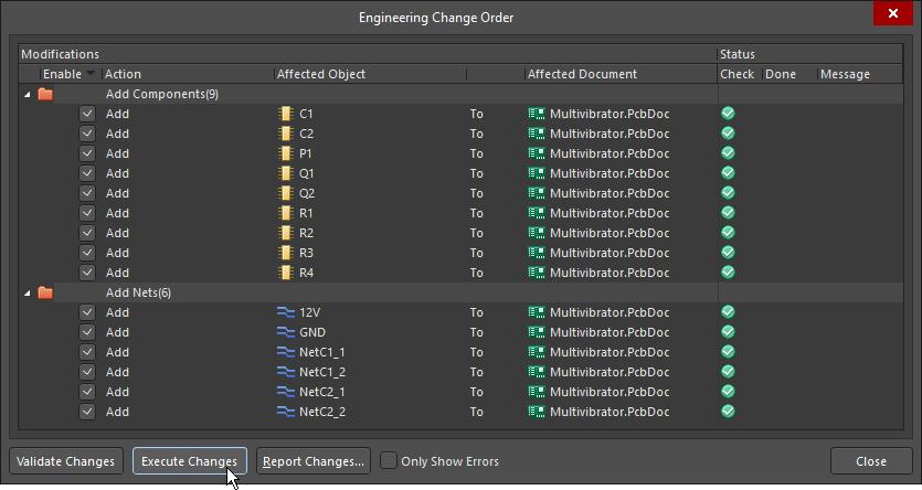 Engineering Change Order dialog