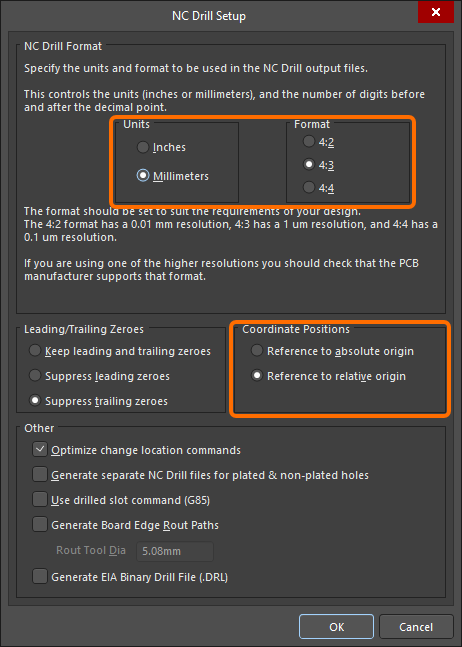 NC Drill Setup dialog, configured to generate proper NC Drill files