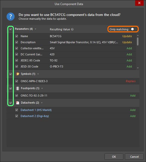 Use Component Data dialog, transistor creation