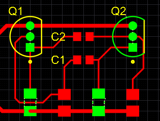 PCB editor, example of violations display, zoomed out