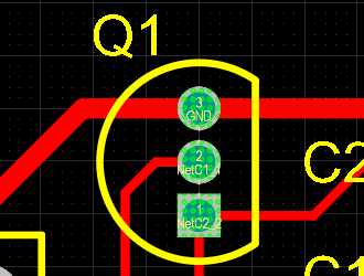 PCB editor, example of violations display, mid-level zoom
