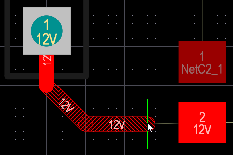 PCB editor, interactive routing, showing how the track segments present with Look Ahead enabled