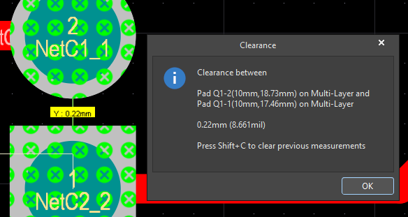 Design Rule Check, measuring the Clearance Violation