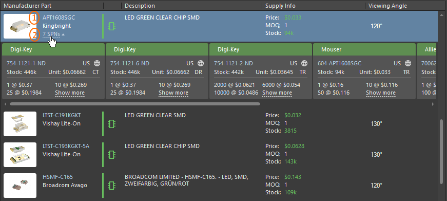 Manufacturer Parts Search panel, details of the selected part