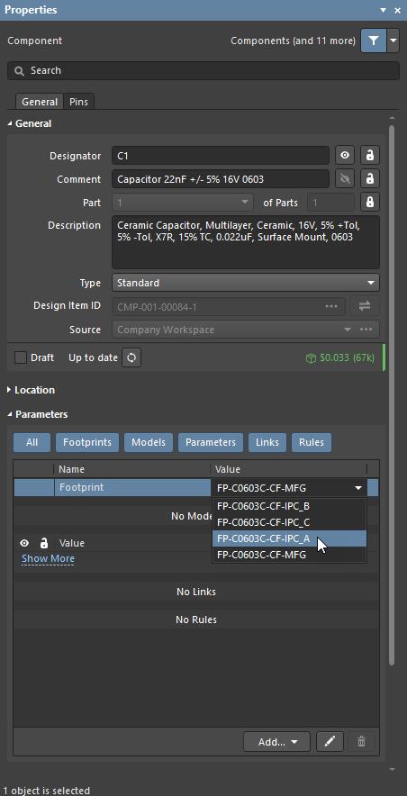 Properties panel, edit footprint