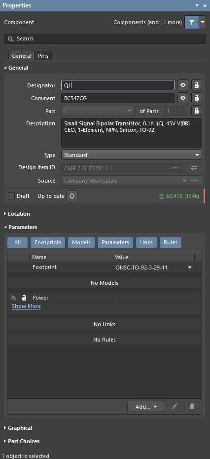Properties panel, edit component designator