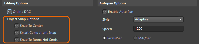 Preferences dialog, configuring the PCB Object Snap options