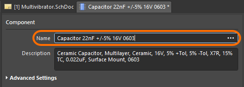 Single Component Editor, change capacitor component name