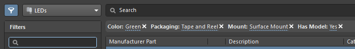 Manufacturer Parts Search panel, edit search conditions