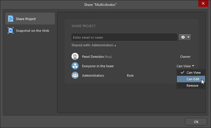 Share dialog, changing permissions for everyone in the team