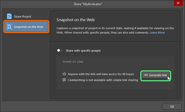 Share dialog, sharing snapshot by link