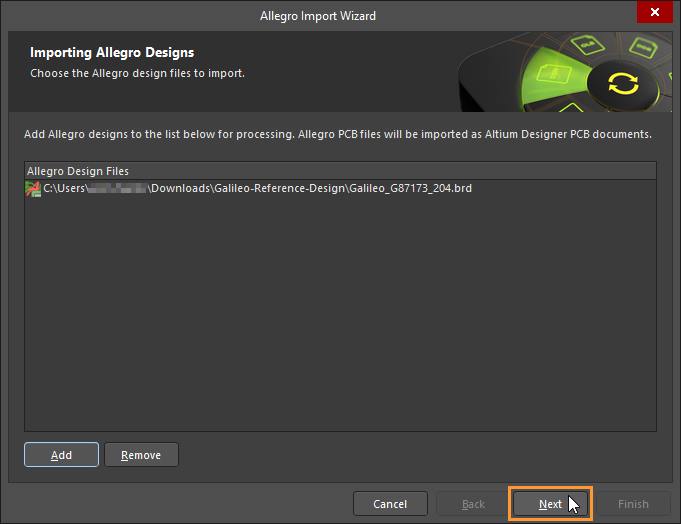 Select either binary or ASCII Allegro design files for import. Allegro must be installed on the local machine to import binary Allegro files (*.brd).