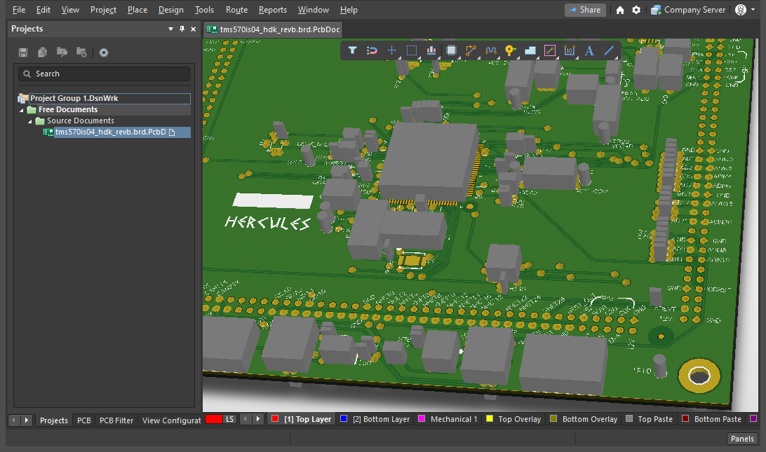 An imported and converted Allegro PCB design shown in 3D mode Altium Designer's PCB editor. Allegro design for Hercules Development Kit courtesy of Texas Instruments®.