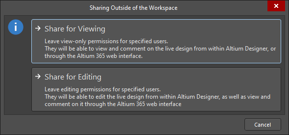 TheSharing Outside of the Workspace dialog