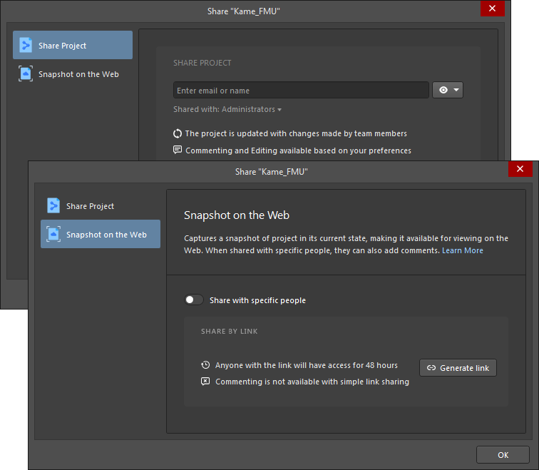 The Share Project and Snapshot on the Web tabs of the Share dialog