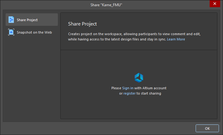 The Share dialog when not signed in to your Altium account and not connected to a Workspace