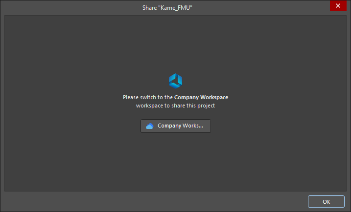 The Share dialog when you are connected to a different Workspace