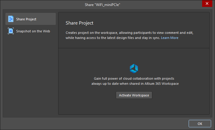 The Share dialog when attempting to share an open project that is not registered with a Workspace and you don't have a Workspace available