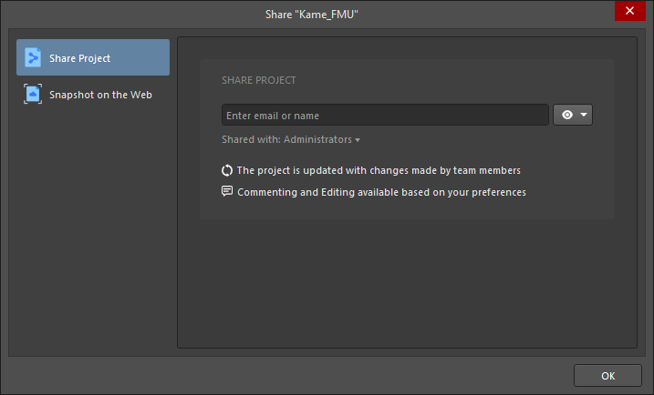 The Share Project tab of the Share dialog when connected to a Workspace