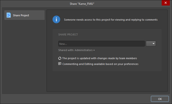 The Share dialog when attempting to post a comment with a mentioned user who has no access to the project