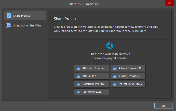 The Share dialog when attempting to share an open project that is not registered with a Workspace and no Workspace is connected
