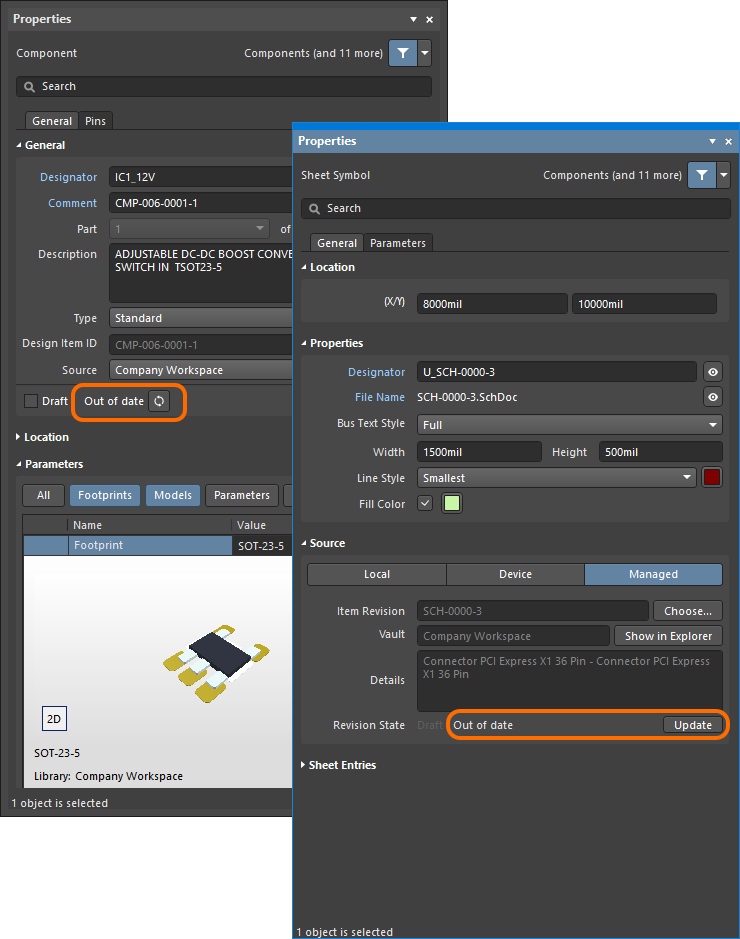 The out-of-date state of a component or managed schematic sheet is indicated in the Properties panel when the object is selected. A button for updating the selected object to its latest revision is provided.
