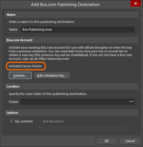 TheAdd Box.com Publishing Destination dialog reflectingtheBox.com account as activated