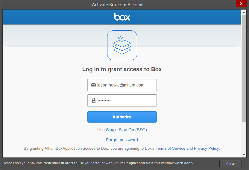 Login to your Box.com account in theActivate Box.com Account dialog