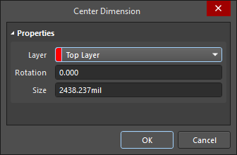 The Center Dimension dialog (the first image) and the Center Dimension mode of the Properties panel (the second image)