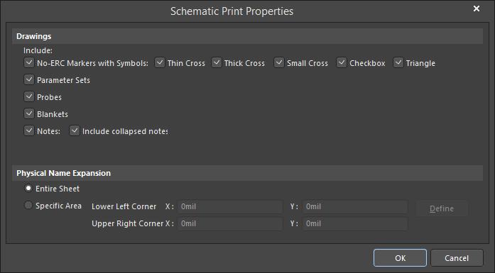 The Schematic Print Properties dialog