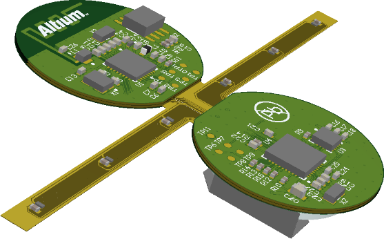 A placed Board Realistic View where the view angle has been taken from the PCB editor using the Camera Position option.