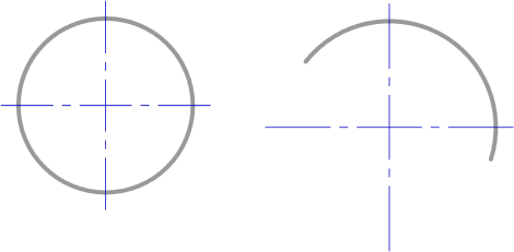 Center Mark objects attached to placed Circle and Arc objects.