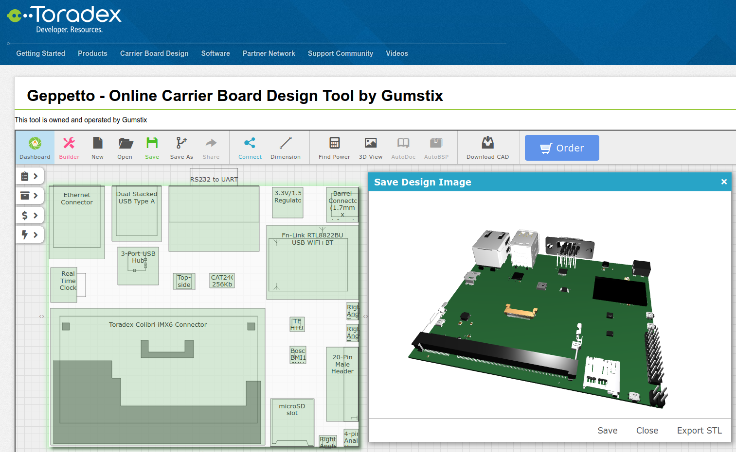 Embedded directly in the Toradex website, Geppetto generates EagleCAD, .BRD and .SCH files of customized Toradex designs