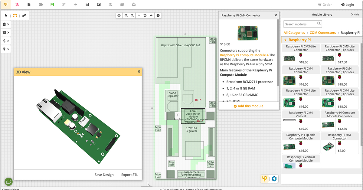 Upverter modular web-based tool offers easy drag and drop PCB design, schematics, automated routing, preview & manufacturing